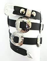 Western Hatband Hat Band Black Leather with 10 Nickel Conchos New!