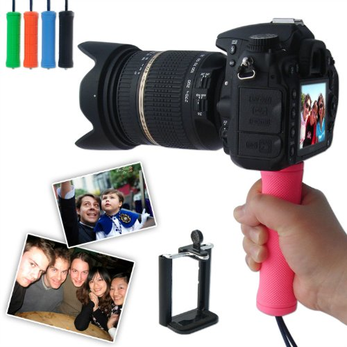 First2Savvv Zp-B-02 Pink Self-Portrait Telescopic Handheld Pole Arm Monopod Camcorder/Camera/Mobile Phone Tripod Mount Adapter Bundle For Nikon Coolpix P7700 Coolpix P500 Coolpix L610 1S1 1J1 1J2 1J3 1V1 1 Aw1 Coolpix P7800 1V2 Canon Powershot G12 Powersh
