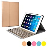 Cooper Cases(TM) Aurora Pro Apple iPad Air 2 Keyboard Folio Case in Gold (Ultra-Slim PU Leather Cover; Auto Sleep/Wake; Removable Magnetic Keyboard Tray; English QWERTY Keyboard w/ 78 Laptop-Style Keys; Bluetooth 3.0 Connectivity; LED Backlight Feature i