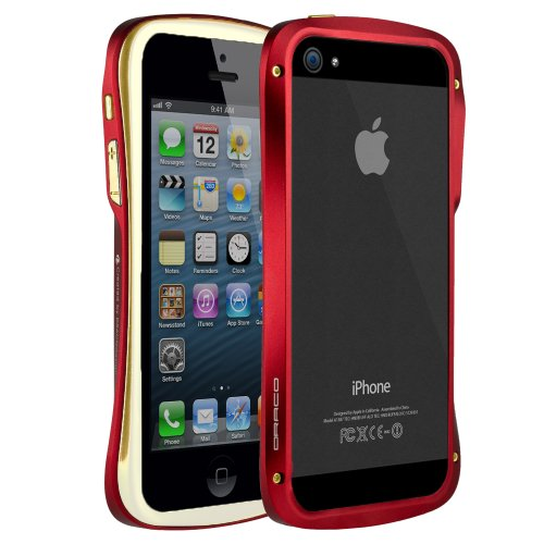 Best Price Draco Elegance Aluminum Bumper Case for iPhone 5 - Gold/Red