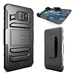 Galaxy S6 Edge Case CellBee [Rigid Armor] Galaxy S6 Edge Dual Layer Heavy Duty Holster (Built-in Credit Card Slot Clip) Case with Kickstand and Locking Belt Swivel Clip - Retail Packaging Warranty Applied