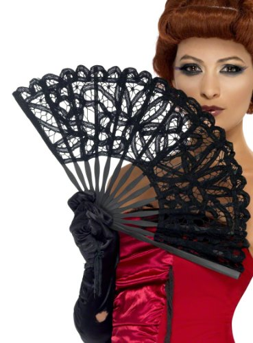 Smiffys Sexy Gothic Burlesque Costume Black Lace Fan
