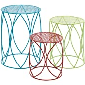 The Colorful Set Of 3 Metal Plant Stand