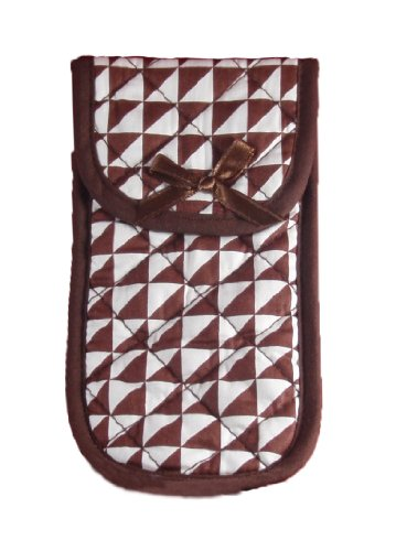 "Fabric Eyeglass Case Holder With Velcro Closure, Size 3.5"" X 6.7"" Triangle Print, Brown-White front-503133"