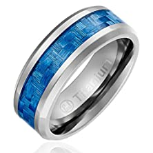 buy 8Mm Comfort Fit Titanium Wedding Band | Engagement Ring With Light Blue Carbon Fiber Inlay | Beveled Edges [Size 8]