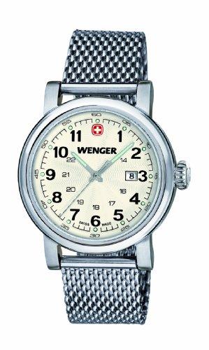Wenger Urban Classic 01.1021.103 - Reloj analógico de cuarzo para mujer, correa de acero inoxidable color plateado (agujas luminiscentes)
