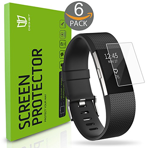 Fitbit Charge 2 Screen Protector, [6-Pack] DEGBIT® [NO-Peeling off] [Full Coverage] HD Clarity/Anti-Scratch/Anti-bubbles Installation Film Cover,Screen Protector for Fitbit Charge 2 -Lifetime Warranty