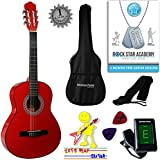 Acoustic Guitar Package 3/4 Sized (36' inch) Classical Nylon String Childs Guitar Pack Red