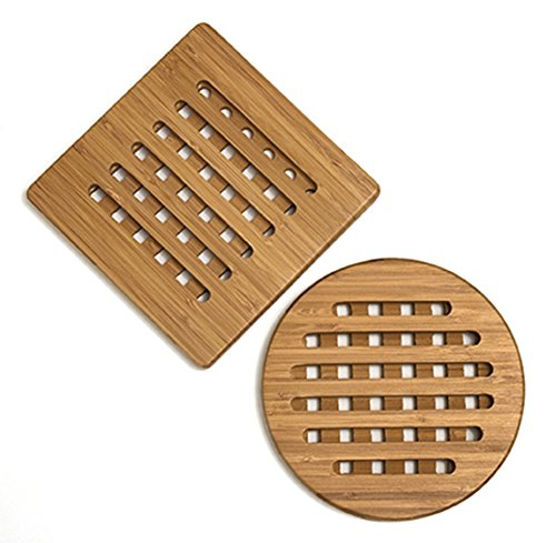 Lipper International 8821-2 Bamboo Trivets, Set of 2 (Hot Plates For Table compare prices)