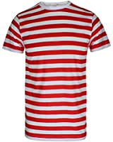 MENS BOYS RED & WHITE STRIPED WHERE WALLY STYLE T SHIRT HAT GLASSES FANCY DRESS (mens X Large T shirt ONLY)