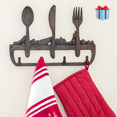 Cast Iron Wall Hanger For Kitchen - Old Fashioned Spoon, Knife and Fork with 3 Hooks - Decorative Cast Iron Kitchen Storage Towel Rack -11.8 x 8