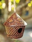 Rosewood Wicker Style Metal Hanging Birdhouse