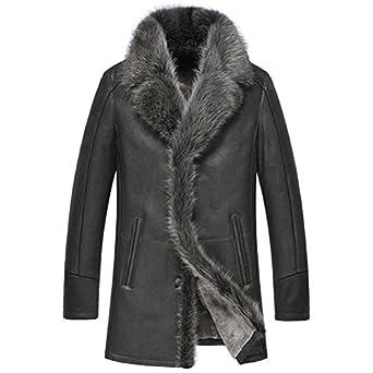 Mens Fur Trim Sheepskin Leather Coat