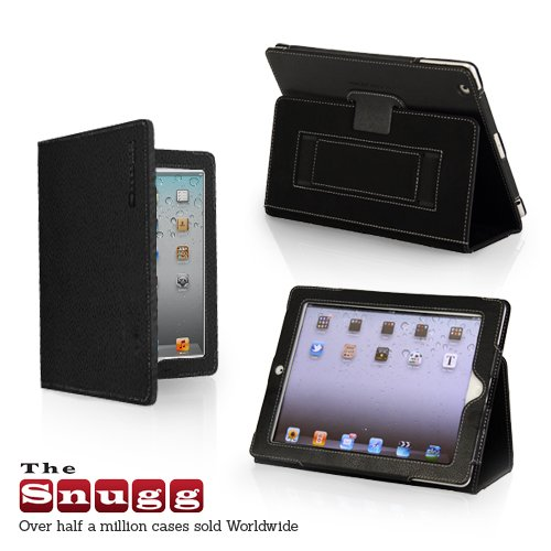 Snugg iPad 2 Leather Case Cover and Flip Stand with Elastic Hand Strap and Premium Nubuck Fibre Interior (Black) - Automatically Wakes and Puts the iPad 2 to Sleep. Superior Quality Design as Featured in GQ Magazine