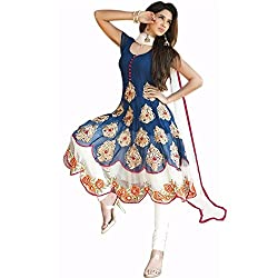 Bhakti Creation Women Georgette Dress Material (Blue)