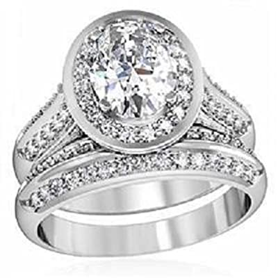 YourJewelleryBox 1W163pb 2.1CT OVAL 2PCS SIMULATED DIAMOND WEDDING BAND RING SET STAINLESS STEEL
