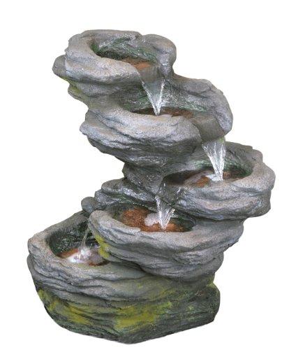 Cascade Chute d'Eau Effet Pierre 5 Niveaux avec Éclairage LED