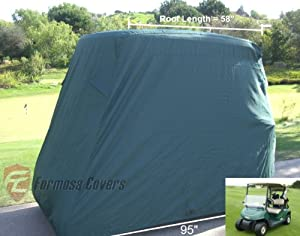 """Deluxe 2 Passenger Golf Cart Cover Green roof up to 58"""" fits standard ezgo, club car and yamaha G model also its Organic transit's ELF"""