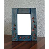 Style My Way Blue Hand Carved And Engraved Wooden Photo Frame - B01H1HRGL0