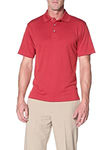 PGA TOUR Men's Short Sleeve Poly Performance Golf Polo, Jockey Red, XL