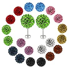 buy Gsg 9 12Mm Round Multi-Color Pave Crystal Disco Ball Stud Earrings 1 Pair