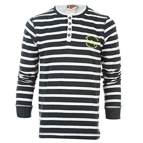 Lee Cooper bambini Junior maglietta Henley maglietta a maniche lunghe da ragazzo Tee Top Abbigliamento Denim M/White XL