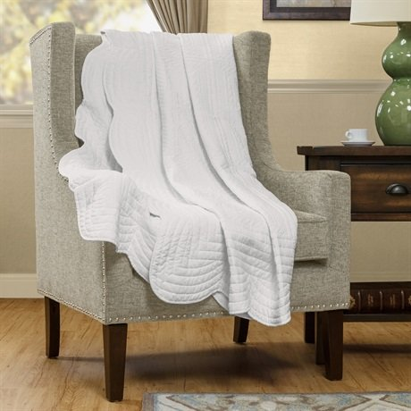 """Madison Park Tuscany Quilted Throw - White - 60X72"""" front-1087058"""