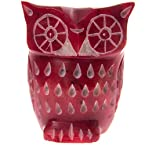 Handmade Soapstone Carved Owl - Red