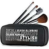 The Body Shop Makeup Cosmetic Brush Set - Face, Brow, Eye Shadow And Lip Brushes In Cute Clutch