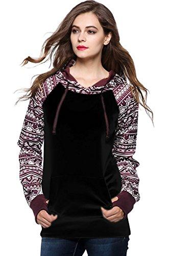 Minetom-Femme-Hiver-Sweats--Capuche-Ethnique-Pull-Imprim-Hoodie-Hauts-Veste-Pullover-Sweatshirt-Tops-Jumper