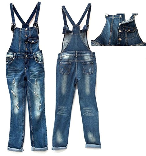 GO-Juniors Romper Blue Denim Jeans Jumpsuit Distressed Overall