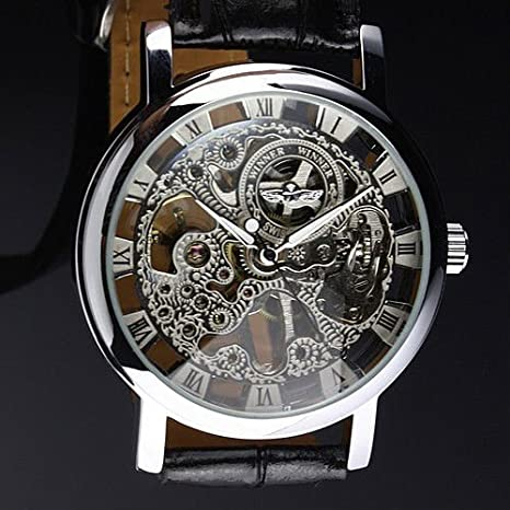 Men's Winner *Hot Sell 2013* Stainless Steel Silvered Skeleton Dial Mechanical Hand-Wind Luxury Black Leather strap Wrist Watch - Free UK Delivery + Gift Box Included!