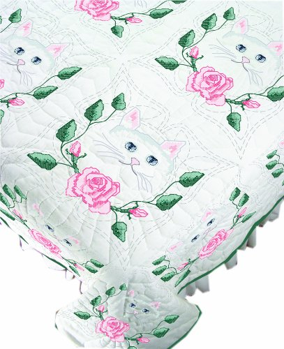 Fairway Needlecraft 90205Quilt Blocks, Cat and Rose Design, White, 6 Blocks Per Set