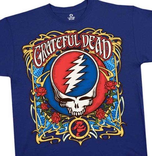 Grateful Dead T-shirt, Steal Your Roses Concert T-Shirt, Vintage Super Premium Quality Band Shirt, Large, Blue