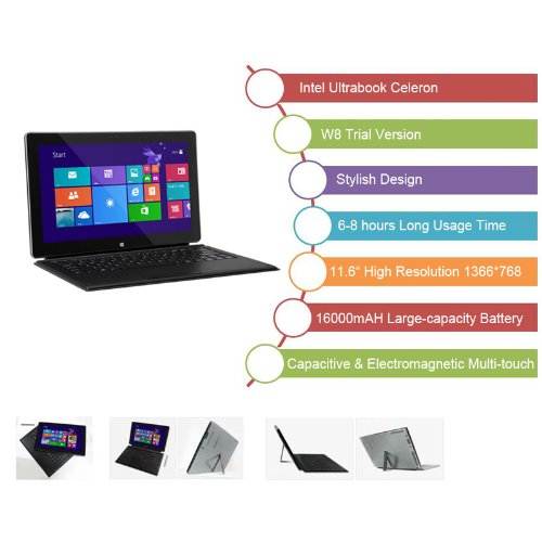 Excelvan 11.6 Zoll Laptop Computer Tablet PC Intel X86 Ultrabook W8 Testversion RAM 2GB ROM 32GB 1366*768 Pixels