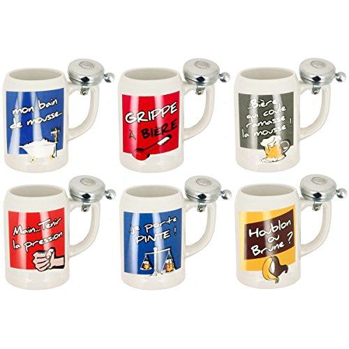promobo-set-lot-6-chopes-pinte-a-biere-geante-en-gres-klaxon-metal-imprime-fun-humour
