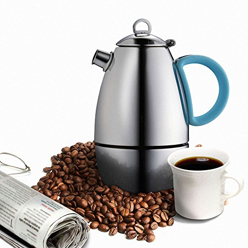Minos Moka Pot Espresso Maker  - 6 cup - 10 fl oz - Stainless Steel and Silicon Handle - Suitable for Gas, Electric And Ceramic Stovetops