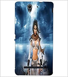 PrintDhaba Warrior Girl D-4919 Back Case Cover for SONY XPERIA C3 (Multi-Coloured)