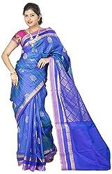 Maya Fashions Women's Pure Silk Saree (Dodger Blue)