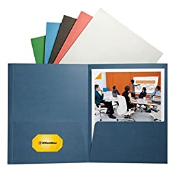 OfficeMax 2-Pocket Folders without Fasteners, Assorted