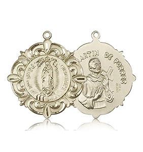 14kt Gold O/L of Guadalupe / Martin de Porres Meda