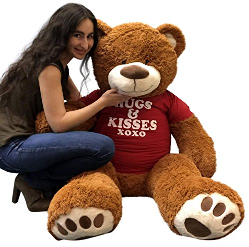 Big-Plush-5-Foot-Giant-Teddy-Bear-Wearing-HUGS-AND-KISSES-T-shirt-60-Inches-Soft-Cinnamon-Brown-Color-Huge-Teddybear
