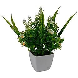 Thefancymart Artificial flowers bush arrangement (size 7 inchs/ 18 cms) with white square pot-0142-865