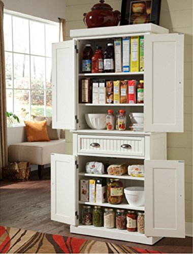 Nantucket White Distressed Finish Food Pantry, This Pantry Is Constructed of Hardwood and Engineered Woods. With Two Cabinet Doors, Adjustable Shelves and a Drawer, This Pantry Cabinet Provides Plenty of Storage Space. Distressed White 2 Door Cabinet