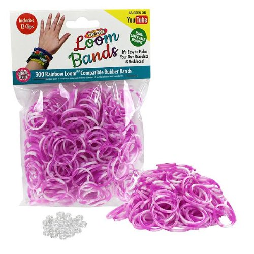 Loom Rubber Bands - 300 Pc Tye Dye Rubber Band Refill Pack (Pink & White) with Clips - 100% Latex Free and Compatible with All Looms