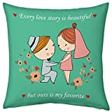 Valentine Gifts for Boyfriend Girlfriend Love Printed Cushion 12X12 Filled Pillow Green Our Love Story is My Favourite Gift for Him Her Fiance Spouse Birthday Anniversary