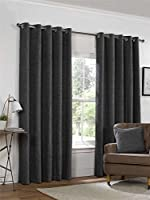 "Plain Chenille Charcoal Grey 90x90"" 229x229cm Lined Ring Top Eyelet Curtains by Curtains"