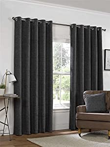 """Plain Chenille Charcoal Grey 90x90"""" 229x229cm Lined Ring Top Eyelet Curtains by Curtains"""