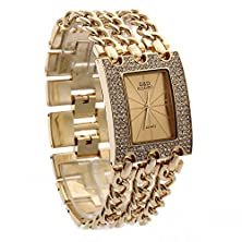 buy Lintimes G And D Women'S Rectangle Shape Three Chains Of Gold Surface With Diamond And Gold Chain Quartz Watch