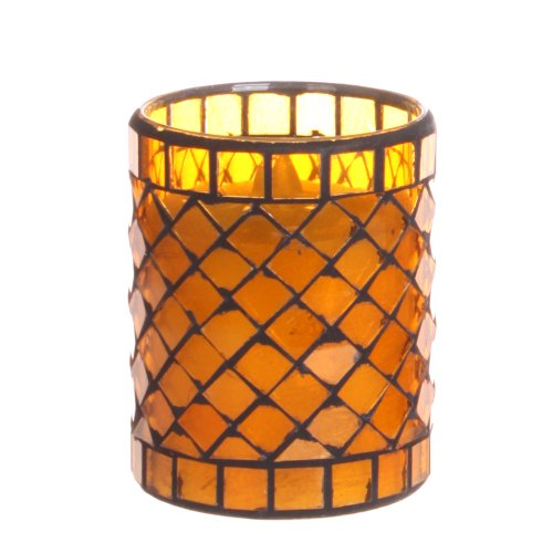 Dfl 3*4 Inch Yellow Diamond-Shaped Mosaic Glass With Flameless Led Candle With Timer,Work With 2 Aa Battery